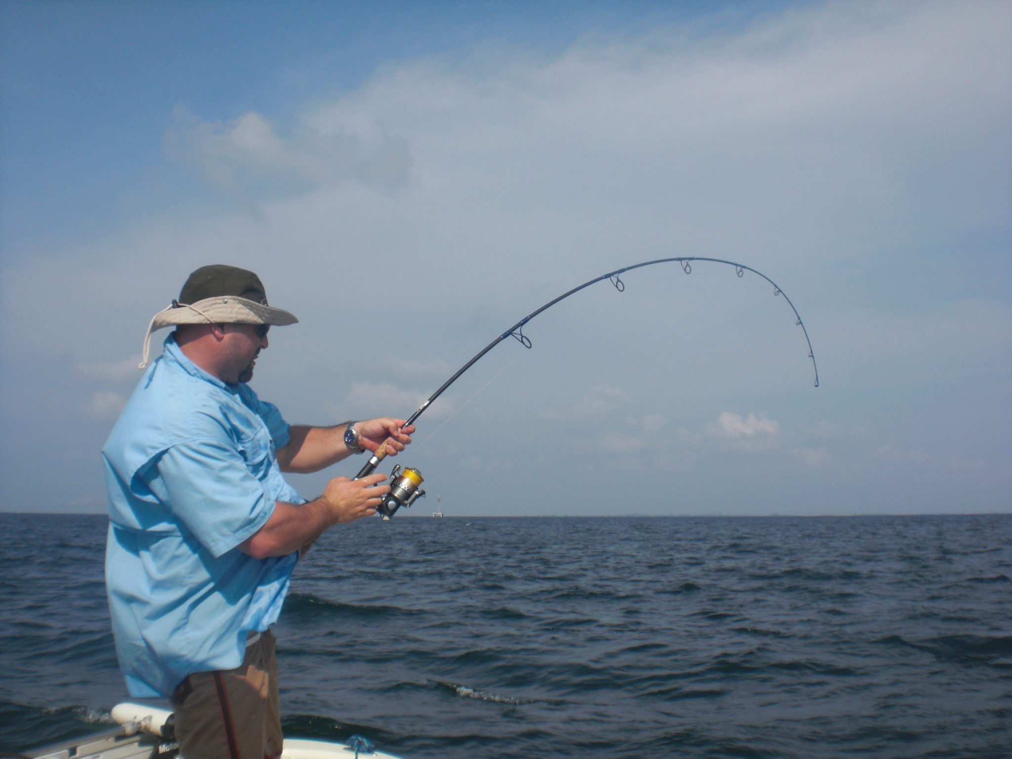 a tampa fisherman with a bent rod