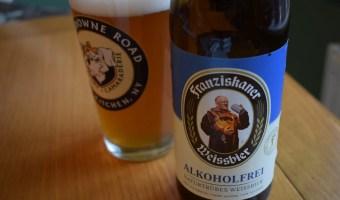 Franziskaner Alkoholfrei bottle close up