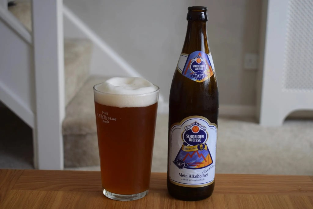 "Schneider Weisse ""Alkoholfrei"" poured with big head"