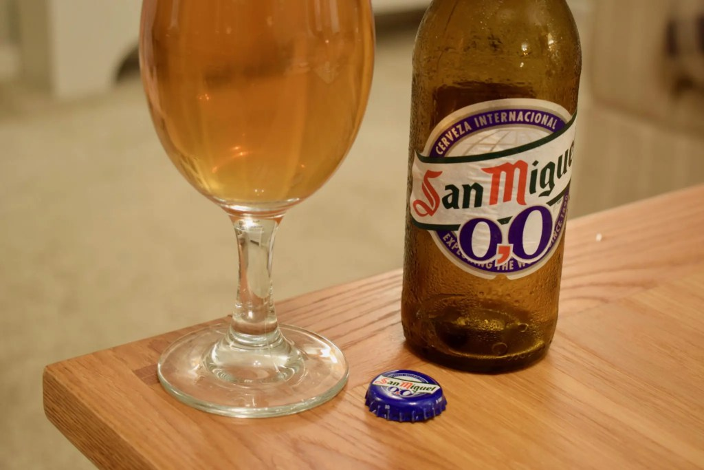 San Miguel 0.0 alcohol-free beer bottle and cap