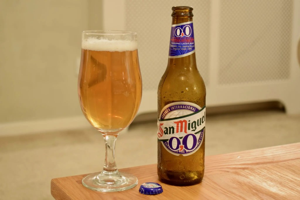 San Miguel 0.0 alcohol-free beer bottle