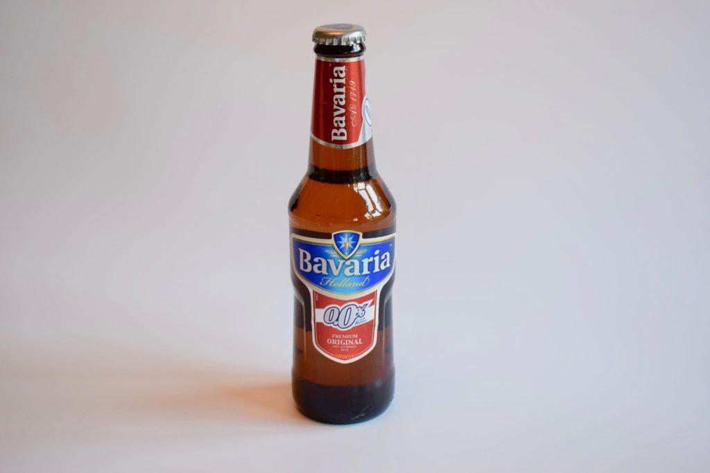 Bottle of Bavaria 0.0 non-alcoholic pilsner beer