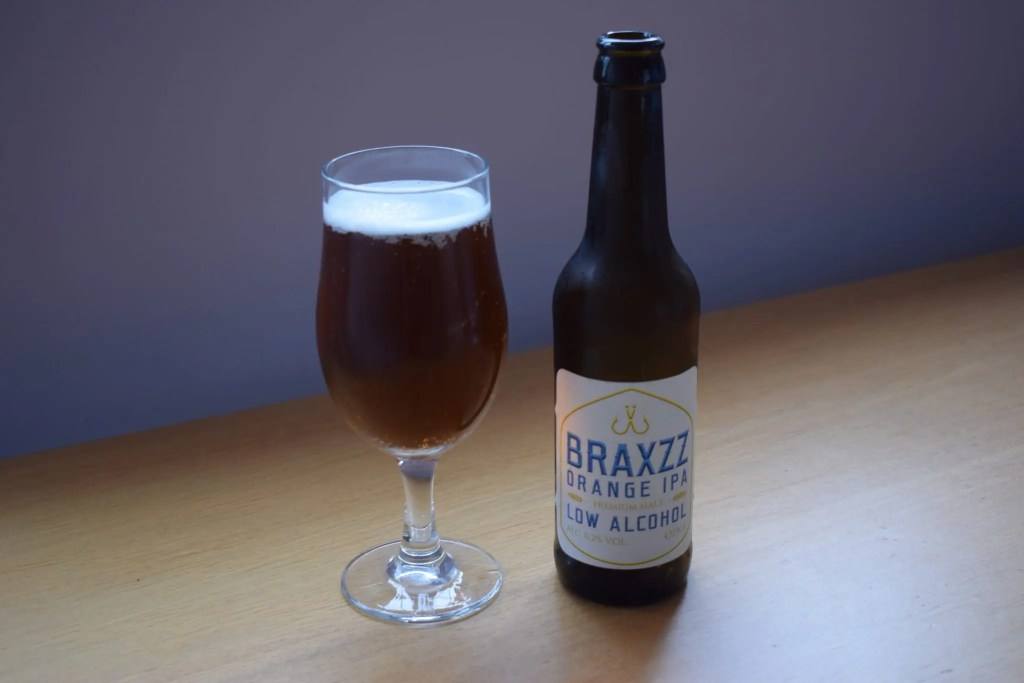 Braxzz Orange IPA glass and bottle