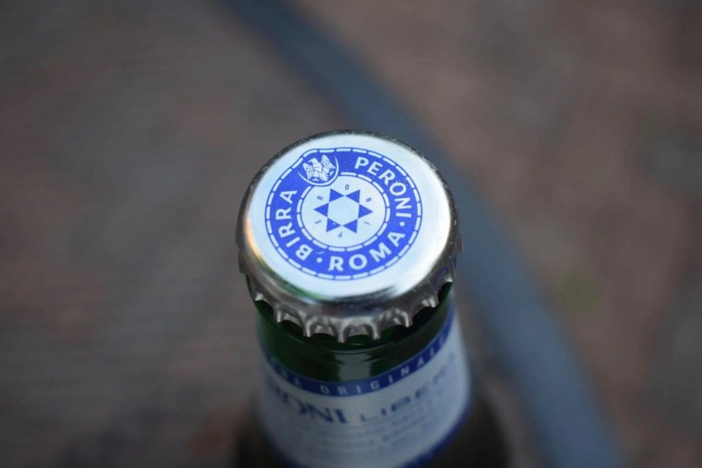 Bottle of Peroni Libera non-alcoholic lager bottle cap