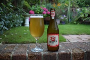 Stiegl Freibier low-alcohol lager bottle and glass
