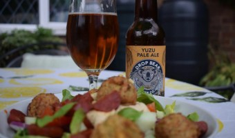 Drop Bear Brewing Yuzu Pale Ale bottle and glass with salad
