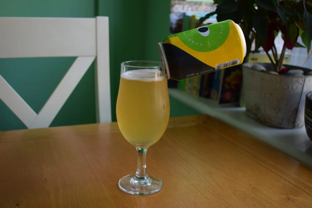 Coast Beer Co Hazy IPA can and glass