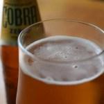 Cobra Zero non-alcoholic lager close up of foam in glass