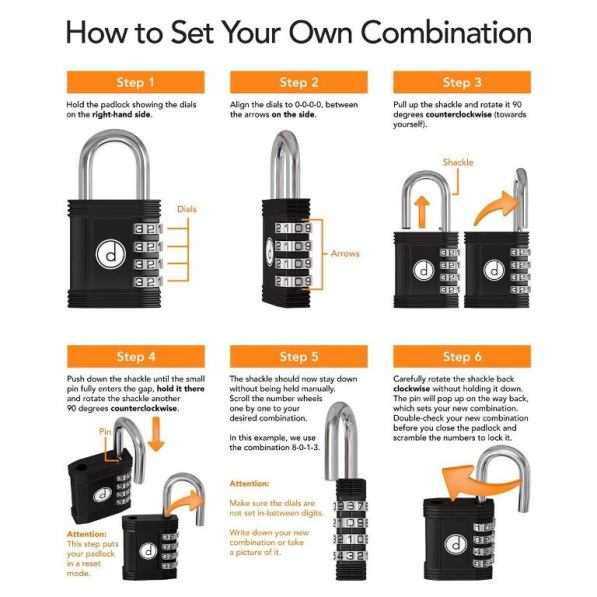 How to set combination of 4 digit combination lock