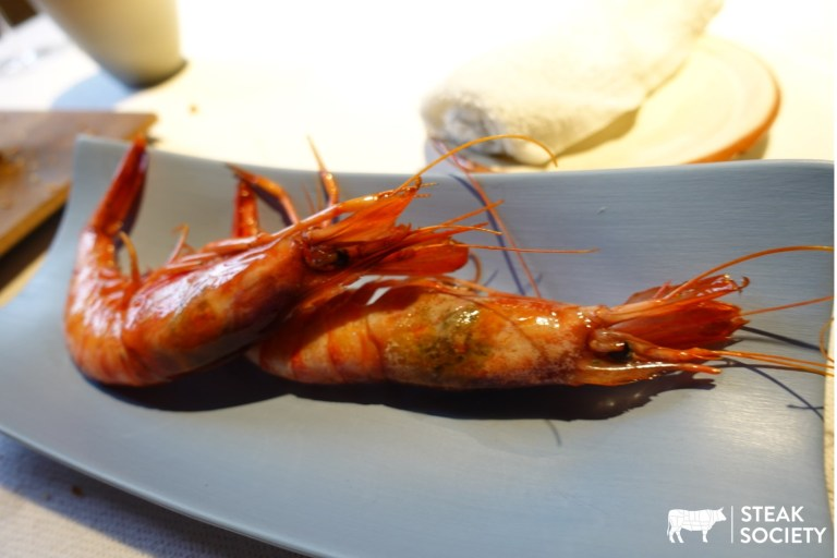 An image of Palamos prawns at Asador Etxebarri