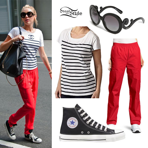 Miley Cyrus: Red Pants, Striped T-Shirt