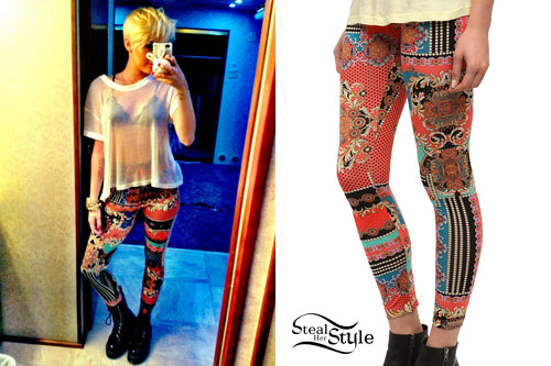 Miley Cyrus: Printed Leggings