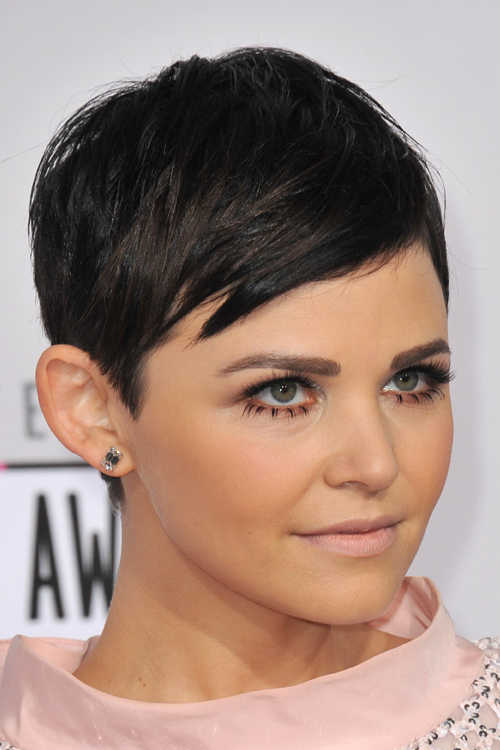 Ginnifer Goodwin Straight Black Pixie Cut Hairstyle