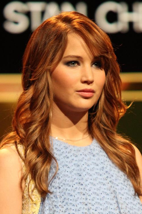 Jennifer Lawrence Wavy Ginger Sideswept Bangs Hairstyle
