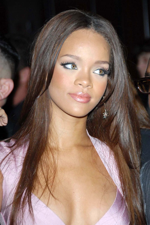 Rihanna Straight Light Brown Angled Hairstyle Steal Her
