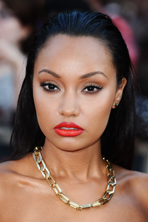 Leigh Anne Pinnock Straight Black Slicked Back Hairstyle