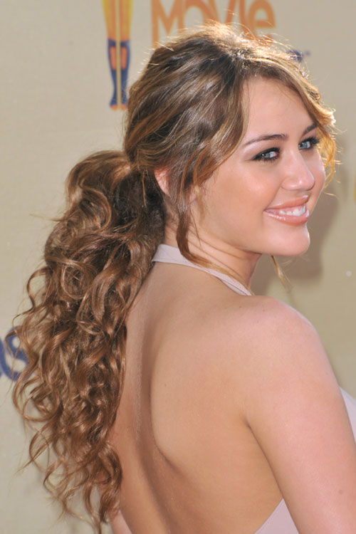 Miley Cyrus Curly Light Brown Ponytail Hairstyle Steal