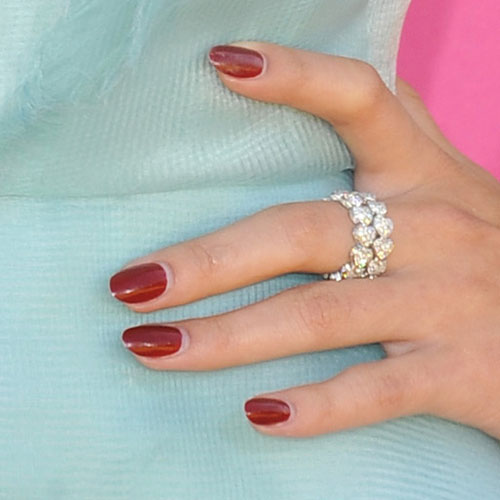 Selena Gomez Maroon Nails  Steal Her Style