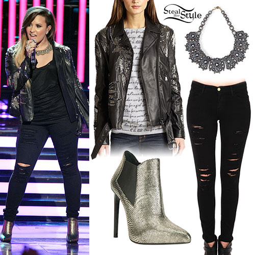 Demi Lovato: Beaded Leather Jacket Outfit