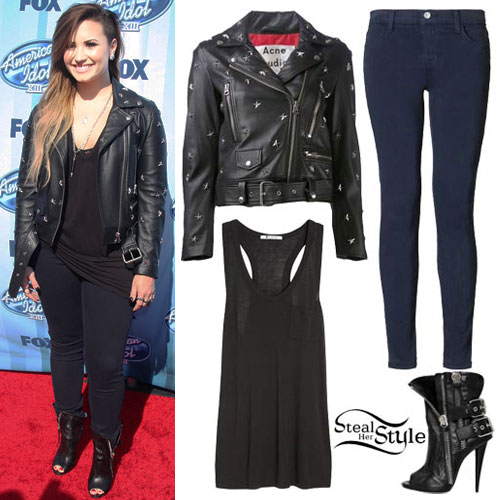 Demi Lovato: Black Tank, Studded Jacket