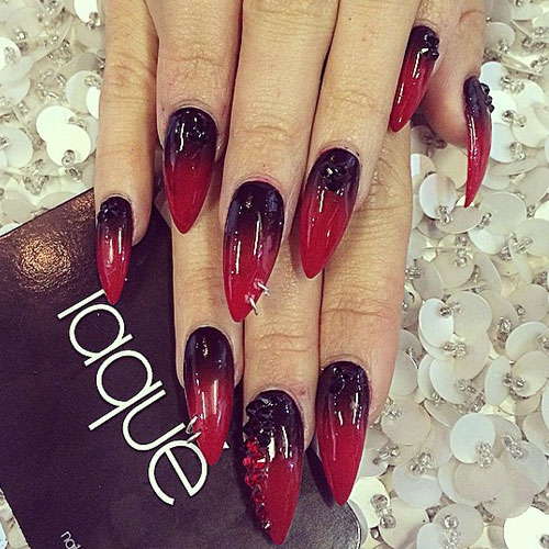 vanessa-hudgens-nails-black-red-ombre