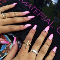Zendaya Light Pink Diagonal Tips, Dots Nails | Steal Her Style