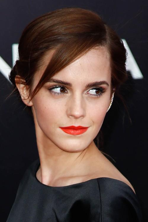 Emma Watson Straight Medium Brown Sideswept Bangs Twists