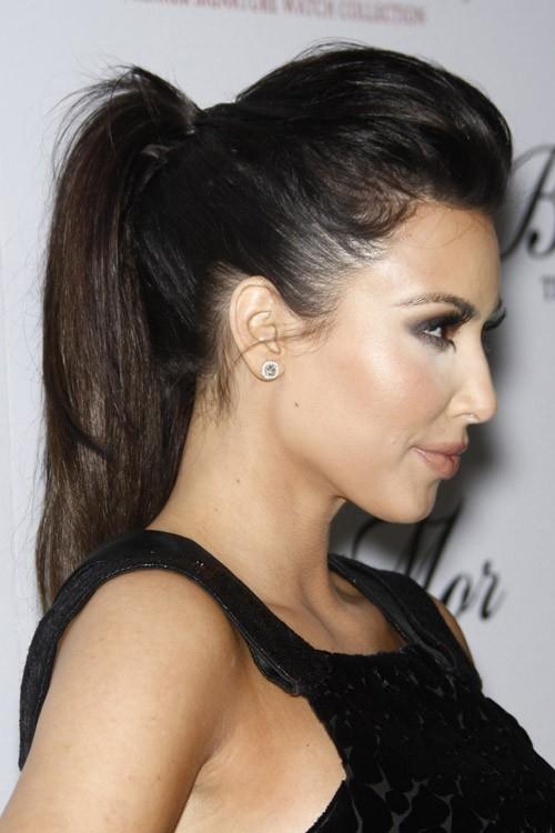 Kim Kardashian Straight Dark Brown High Ponytail