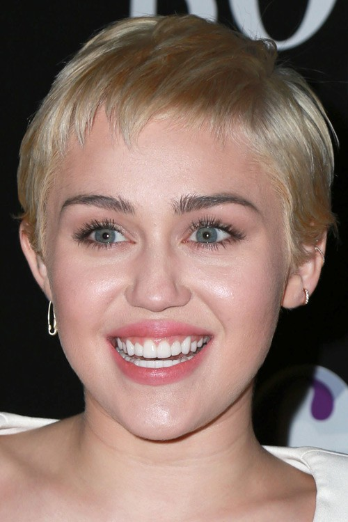 Miley Cyrus Straight Platinum Blonde Pixie Cut Hairstyle