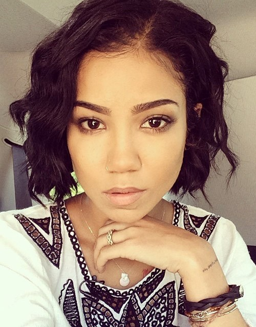 Jhené Aiko Wavy Black Bob Hairstyle Steal Her Style