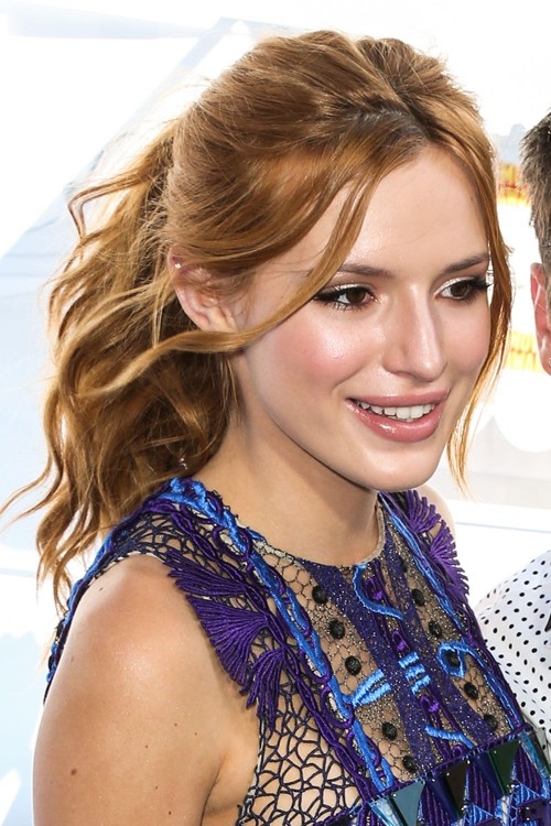 Bella Thorne Wavy Ginger Face Framing Pieces High