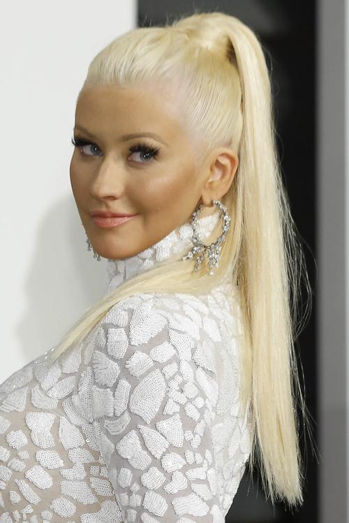 Christina Aguilera Straight Platinum Blonde High Ponytail