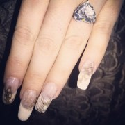 lady gaga clear white french manicure