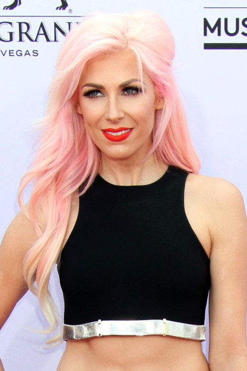 Bonnie McKee Wavy Pink Pinned Back Side Part Uneven