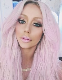 Aubrey O'Day Straight Pink Uneven Color Hairstyle | Steal ...