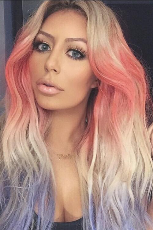 Aubrey ODay Wavy Platinum Blonde Tri Color Hairstyle