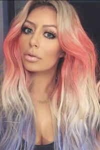 Aubrey O'Day Wavy Platinum Blonde Tri-Color Hairstyle ...