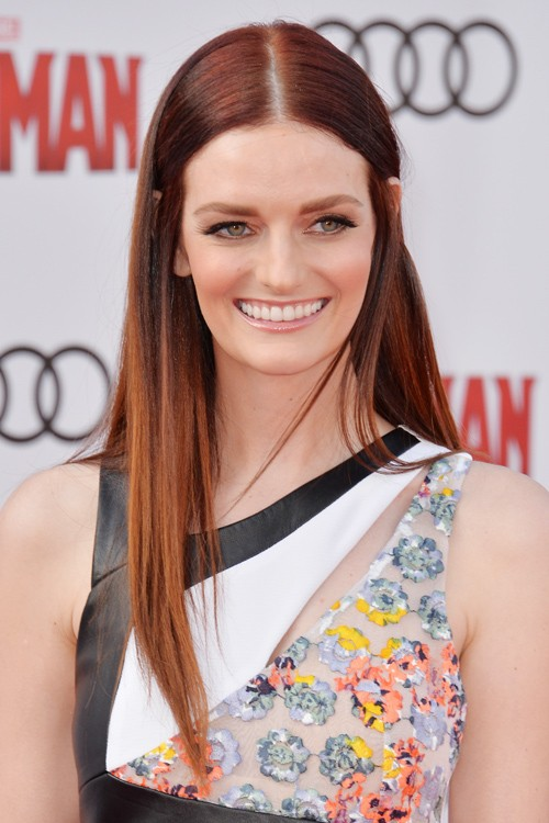 Lydia Hearst Straight Auburn Flat Ironed Hairstyle Steal