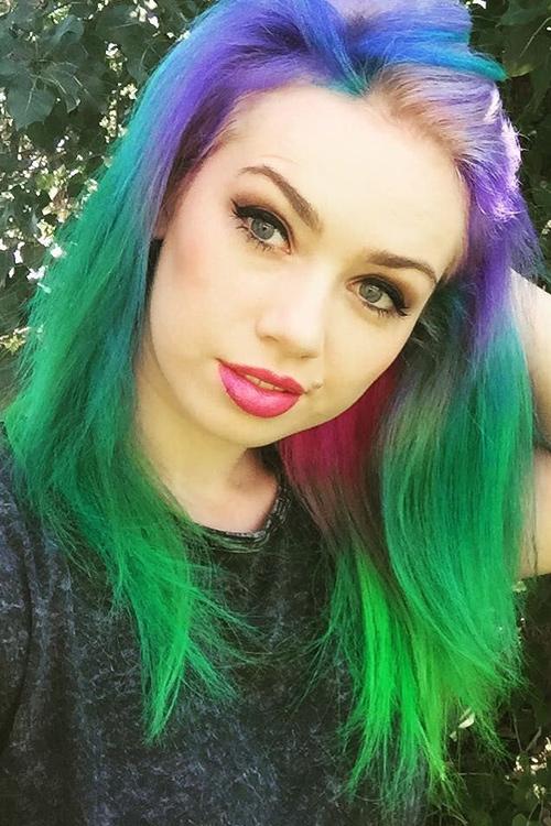 Skye Sweetnam Straight Green Pink Purple Dip Dyed Tri