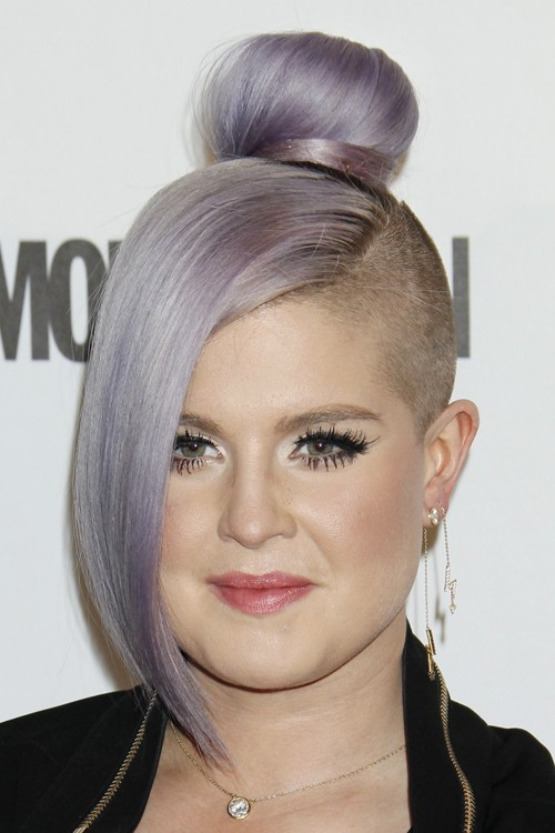 Kelly Osbourne Straight Purple Bun Half Up Half Down