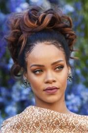 rihanna wavy dark brown updo hairstyle