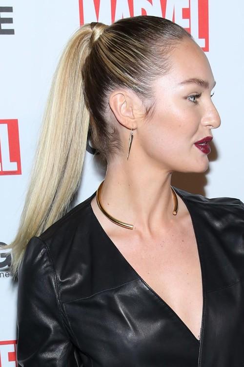 Candice Swanepoel Straight Medium Brown High Ponytail