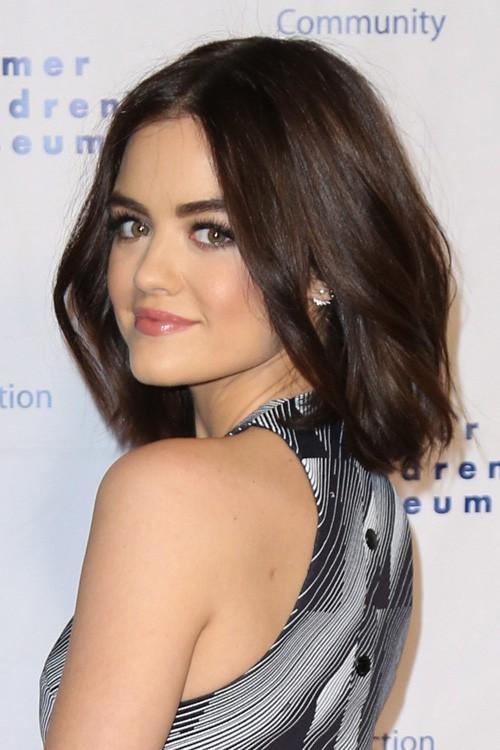 Lucy Hale Straight Dark Brown Blunt Cut Bob Hairstyle