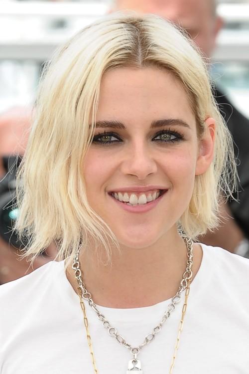 Kristen Stewart Straight Platinum Blonde Blunt Cut Bob