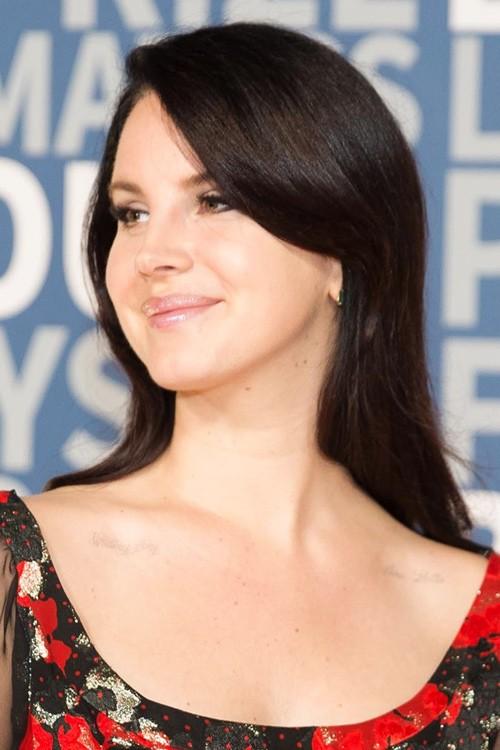 Lana Del Rey Straight Dark Brown Overgrown Bangs Hairstyle