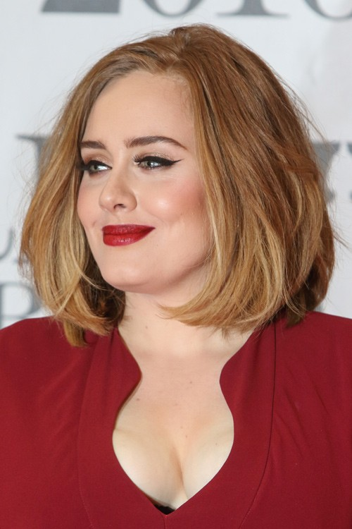 Adele Straight Medium Brown All Over Highlights Blunt Cut