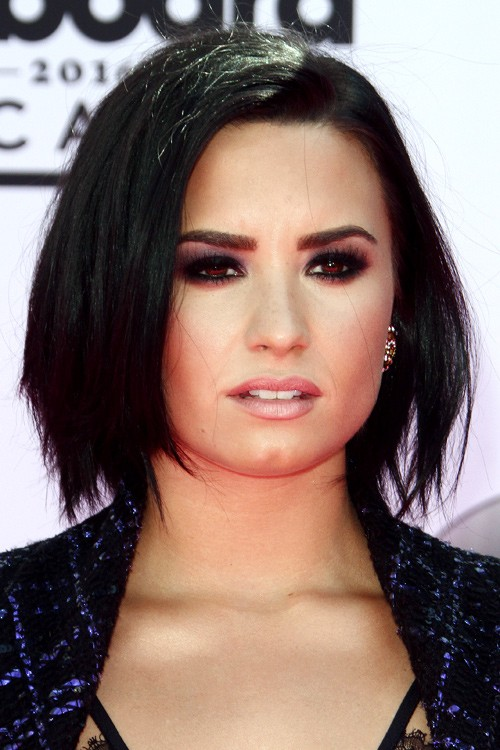 Demi Lovato Straight Black Bob Layered Bob Hairstyle