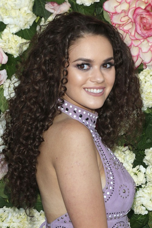 Madison Pettis Curly Dark Brown Afro Bouffant Hairstyle