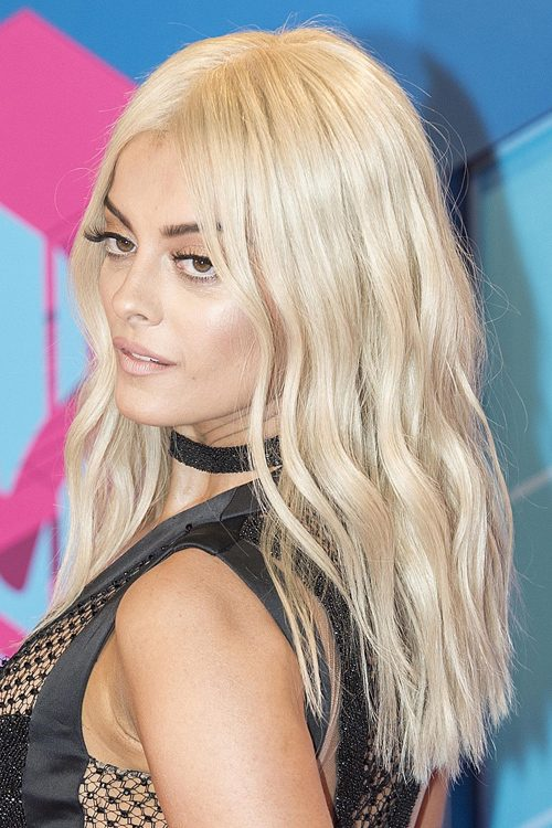Bebe Rexha Wavy Platinum Blonde Blunt Cut Loose Waves