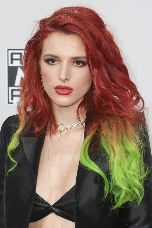 Bella Thorne Wavy Red Barrel Curls Dip Dyed Two Tone